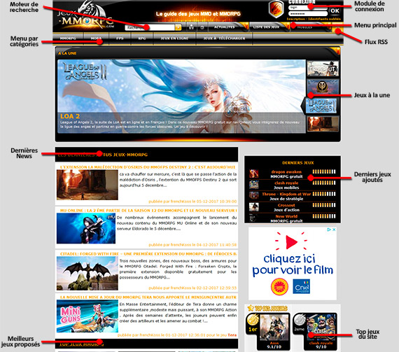 interface page d'accueil jeux mmorpg