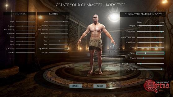 Chronicle of Elyria caractéristiques du personnage